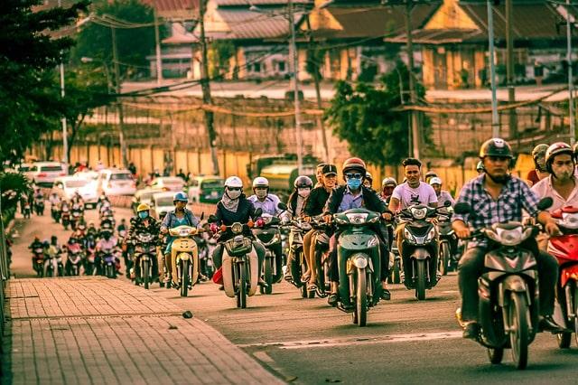 Motorräder sind Haupttransportsmitteln in Vietnam