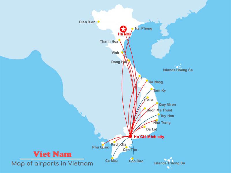 Flughäfen Vietnam Karte